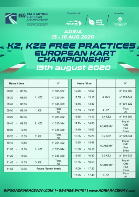 Prove libere KZ KZ2 campionato europeo kart
